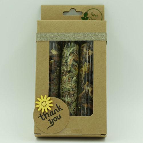 Cadeau sous forme de box avec 3 thés bio différents